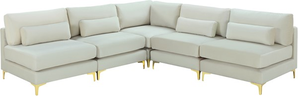 Meridian Furniture Julia Cream Velvet 5pc Modular Sectional MRD-605Cream-Sec5B