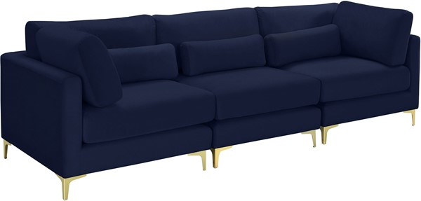 Meridian Furniture Julia Navy Velvet 3pc Modular Sofa MRD-605Navy-S108