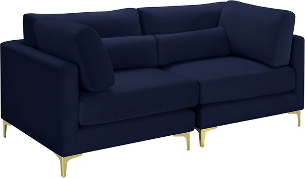 Meridian Furniture Julia Navy Velvet 2pc Modular Sofa MRD-605Navy-S75