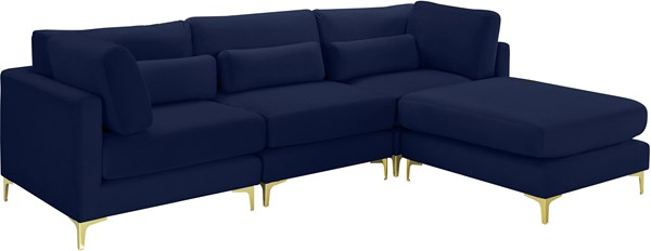 Meridian Furniture Julia Navy Velvet 4pc Modular Sectional MRD-605Navy-Sec4A