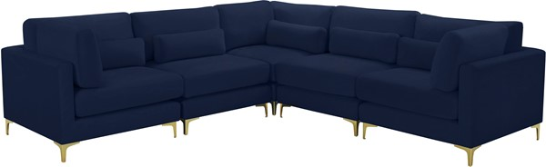 Meridian Furniture Julia Navy Velvet Symmetrical 5pc Modular Sectional MRD-605Navy-Sec5C