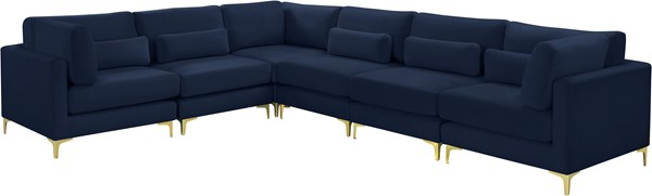 Meridian Furniture Julia Navy Velvet Reversible 6pc Modular Sectionals MRD-605Navy-Sec6A