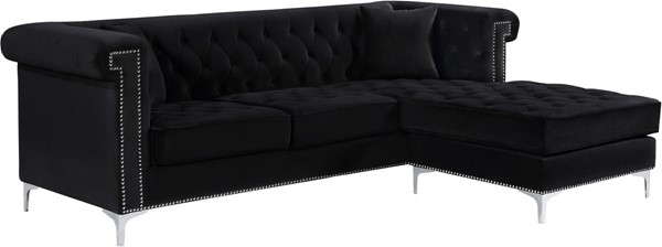 Meridian Furniture Damian Black Velvet 2pc Reversible Sectional MRD-608Black-Sectional