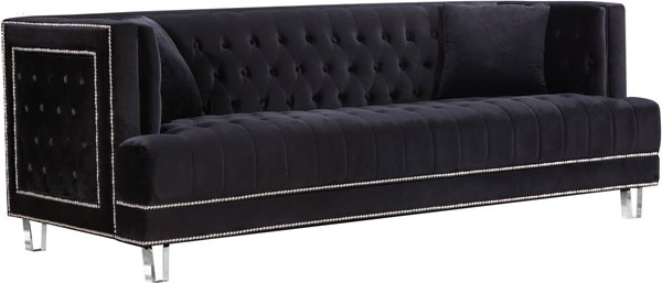 Design Edge Waterfall  Black Velvet Sofa DE-21989783