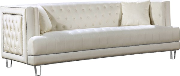 Design Edge Waterfall  Cream Velvet Sofa DE-21989823