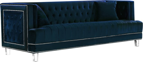 Design Edge Waterfall  Navy Velvet Sofa DE-21989903