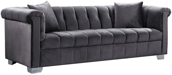 Design Edge Tuncurry  Grey Velvet Sofa DE-21990563