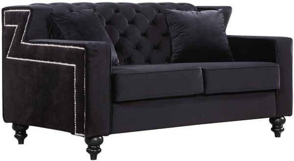 Design Edge South West Rocks  Black Velvet Loveseat DE-21990702