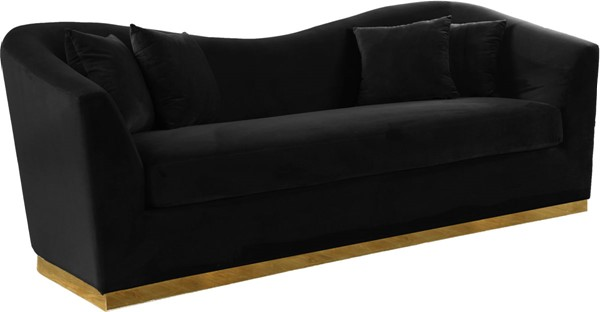 Meridian Furniture Arabella Black Velvet Sofa MRD-617Black-S