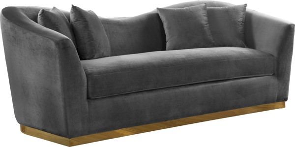 Design Edge Kimovale  Grey Velvet Sofa DE-22610057