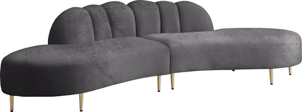 Meridian Furniture Divine Grey Velvet 2pc Sectional MRD-618Grey-Sectional