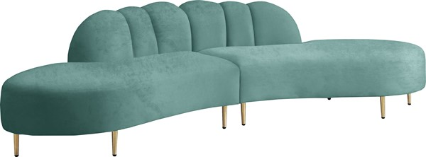 Meridian Furniture Divine Mint Velvet 2pc Sectional MRD-618Mint-Sectional