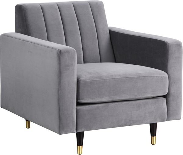 Meridian Furniture Lola Grey Velvet Chair MRD-619Grey-C