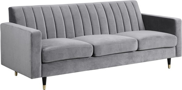 Meridian Furniture Lola Grey Velvet Sofa MRD-619Grey-S