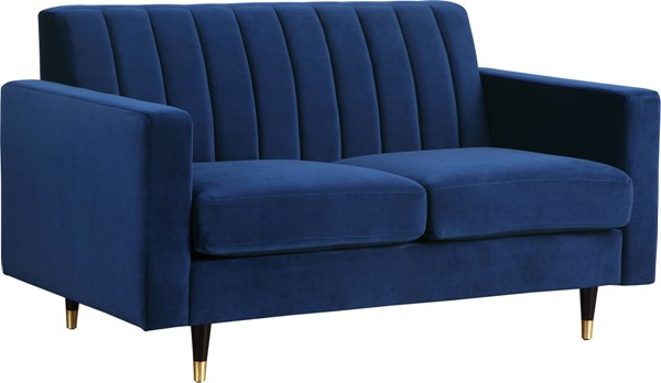 Design Edge Warialda  Navy Velvet Loveseat DE-22779970