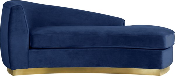 Meridian Furniture Julian Navy Velvet Gold Base Chaise MRD-620Navy-Chaise