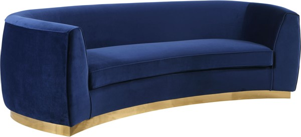 Meridian Furniture Julian Navy Velvet Gold Base Sofa MRD-620Navy-S