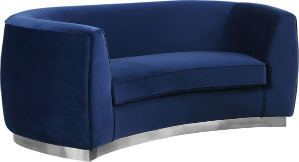 Design Edge Trundle  Navy Velvet Chrome Base Loveseat DE-22610403