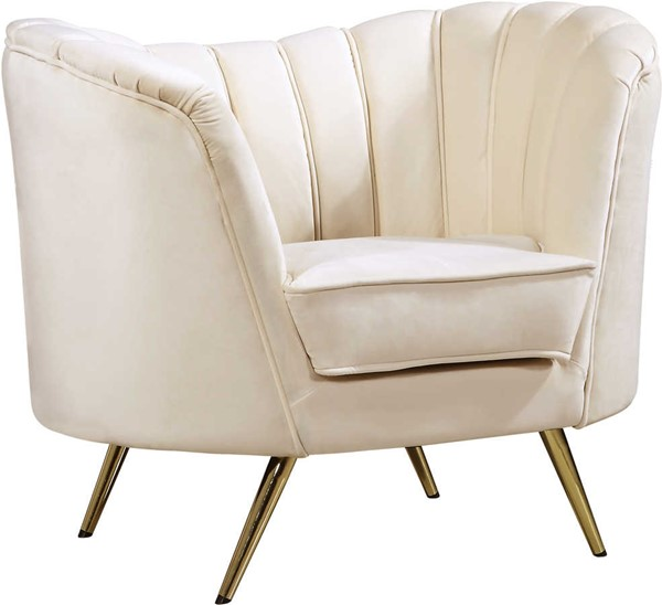 Design Edge Woodburn  Cream Velvet Chair DE-22249783