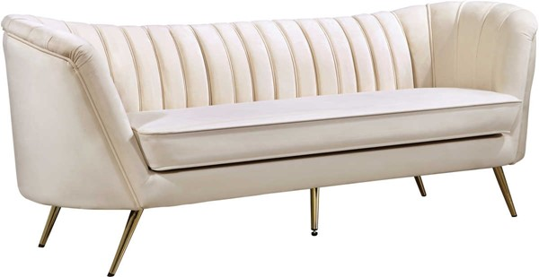 Design Edge Woodburn  Cream Velvet Sofa DE-22249703