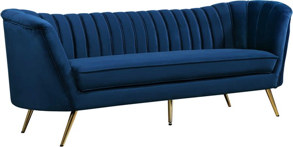 Design Edge Woodburn  Navy Velvet Sofa DE-22249713
