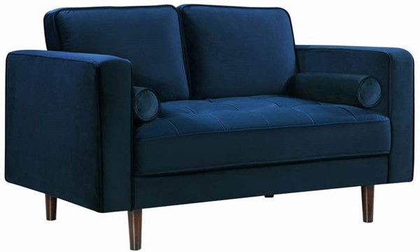 Design Edge Orange  Navy Velvet Loveseat DE-22248651