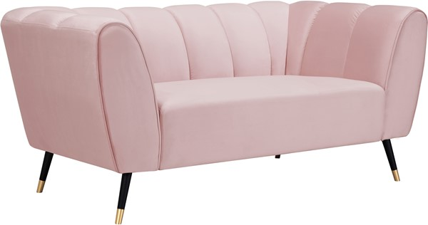 Meridian Furniture Beaumont Pink Velvet Loveseat MRD-626Pink-L