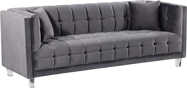 Design Edge Woodenbong  Grey Velvet Sofa DE-22610742