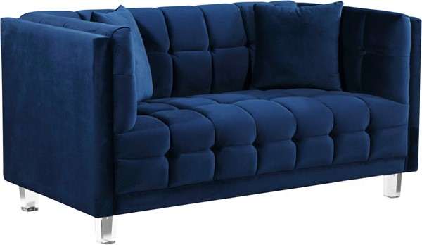 Design Edge Woodenbong  Navy Velvet Loveseat DE-22610702