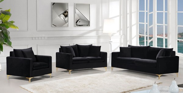 Design Edge Aramac  Black 3pc Living Room Set DE-22780434
