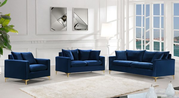 Design Edge Aramac  Navy 3pc Living Room Set DE-22780454