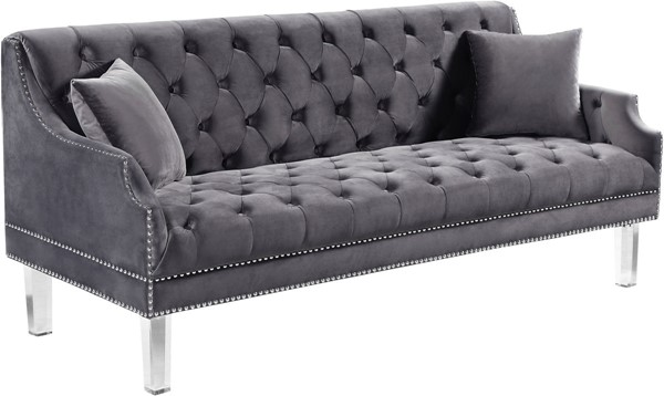 Meridian Furniture Roxy Grey Velvet Sofa MRD-635Grey-S
