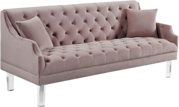 Design Edge Clermont  Pink Velvet Sofa DE-22780967