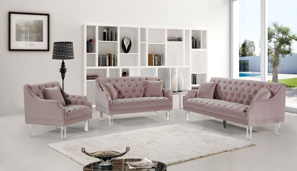 Design Edge Clermont  Pink Velvet 3pc Living Room Set DE-22781087