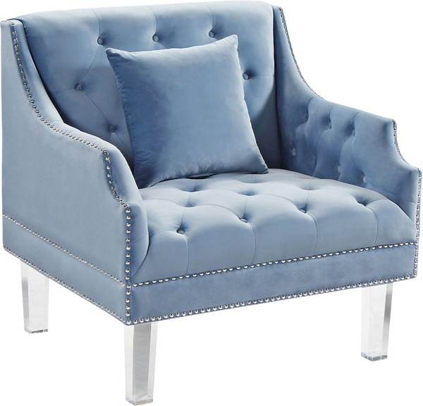 Design Edge Clermont  Sky Blue Velvet Chair DE-22781057