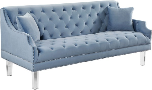 Meridian Furniture Roxy Sky Blue Velvet Sofa MRD-635SkyBlu-S