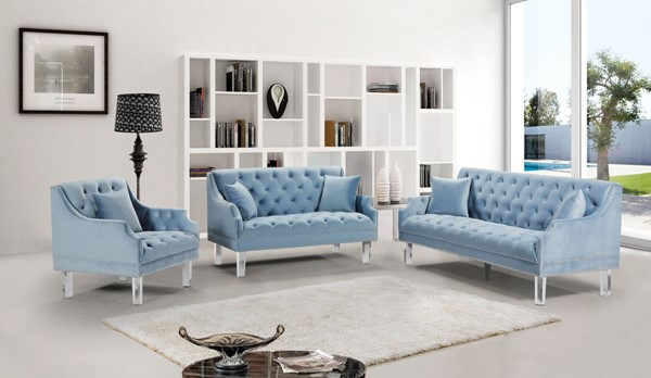 Design Edge Clermont  Sky Blue Velvet 3pc Living Room Set DE-22781097