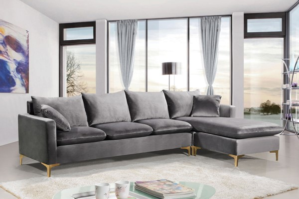 Meridian Furniture Naomi Grey Velvet 2pc Reversible Sectional MRD-636Grey-Sectional
