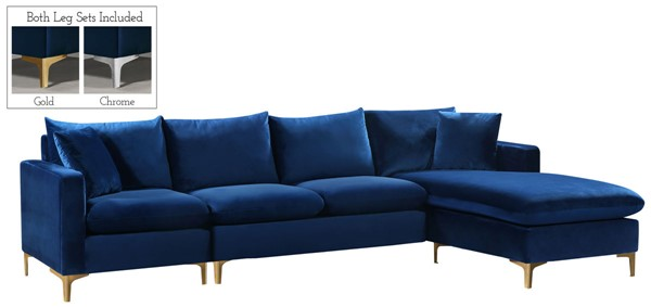 Meridian Furniture Naomi Navy Velvet Sectional MRD-636Navy-Sectional