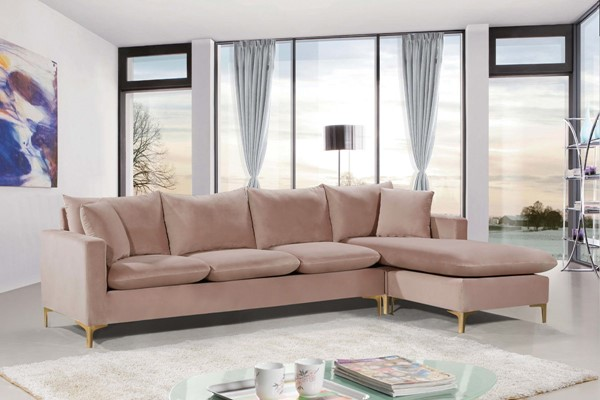 Meridian Furniture Naomi Pink Velvet 2pc Reversible Sectional MRD-636Pink-Sectional