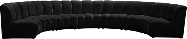 Meridian Furniture Infinity Black Velvet 7pc Modular Sectional MRD-638Black-7PC