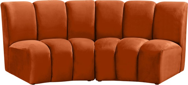 Meridian Furniture Infinity Cognac Velvet 2pc Modular Loveseat MRD-638Cognac-2PC