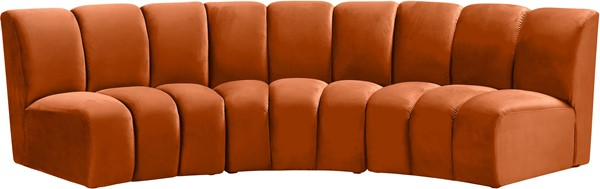 Meridian Furniture Infinity Cognac Velvet 3pc Modular Sofa MRD-638Cognac-3PC