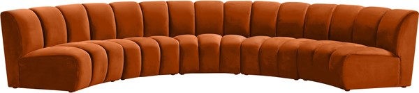 Meridian Furniture Infinity Cognac Velvet 5pc Modular Sectional MRD-638Cognac-5PC