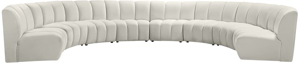 Meridian Furniture Infinity Cream Velvet 8pc Modular Sectional MRD-638Cream-8PC