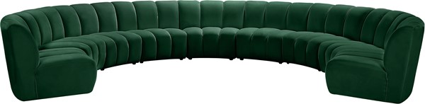Meridian Furniture Infinity Green Velvet 9pc Modular Sectional MRD-638Green-9PC