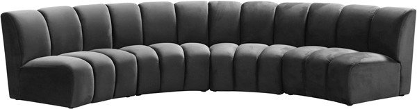 Meridian Furniture Infinity Grey Velvet 4pc Modular Sectional MRD-638Grey-4PC