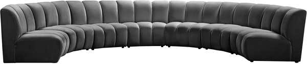 Meridian Furniture Infinity Grey Velvet 7pc Modular Sectional MRD-638Grey-7PC