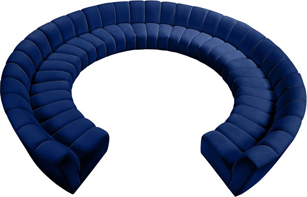 Meridian Furniture Infinity Navy Velvet 11pc Modular Sectional MRD-638Navy-11PC