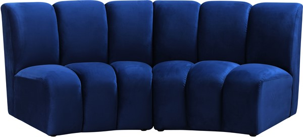 Meridian Furniture Infinity Navy Velvet 2pc Modular Loveseat MRD-638Navy-2PC